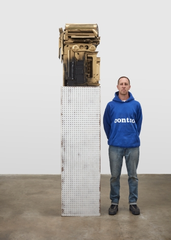Phil Wagner Untitled, 2019 ( with artist for scale)  mixed media sculpture 32 x 21 x 17 inches 81.28 x 53.34 x 43.18 cm #PW007