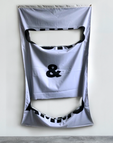 J.G. Thies, Milk & Honey, 2019 Nylon, PVC piping frame, grommets 60h x 36w x 1d in 152.40h x 91.44w x 2.54d cm JGT001