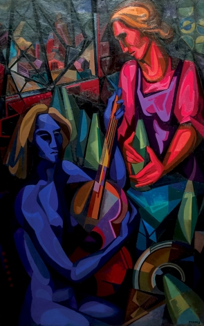 """Oil painting by Seymour Franks entitled """"Ballad for Two Women""""."""