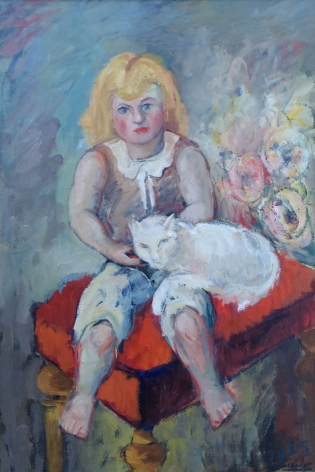 """Oil on canvas by Hans Burkhardt entitled """"Girl with Cat""""."""