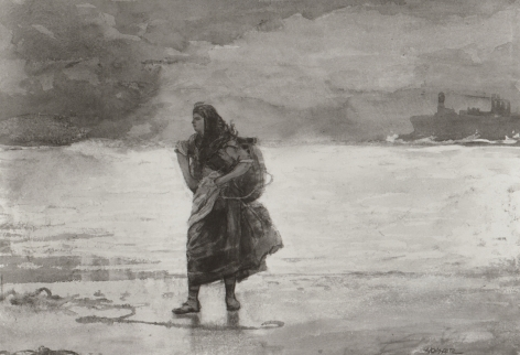 """Sold watercolor painting by Winslow Homer entitled """"Fisherwoman, Tynemouth""""."""