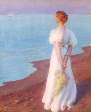 "Charles Courtney Curran oil painting entitled ""On the Shore of Lake Erie""."