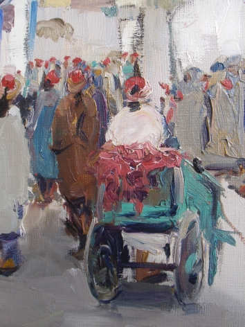 """Detail of """"A Busy Corner Tunis"""" by Jane Peterson."""