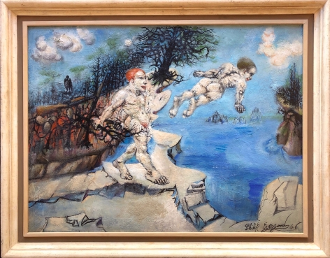 """Frame on """"Lure of the Waters"""" by Philip Evergood."""