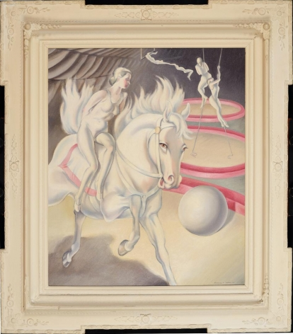 Frame view of Clarence H. Carter painting Circus Scene.
