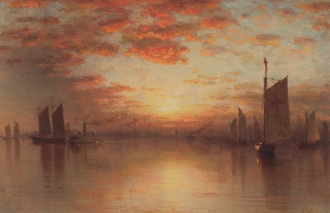 """Sold Sanford Gifford painting entitled """"Sunset Over New York Bay""""."""
