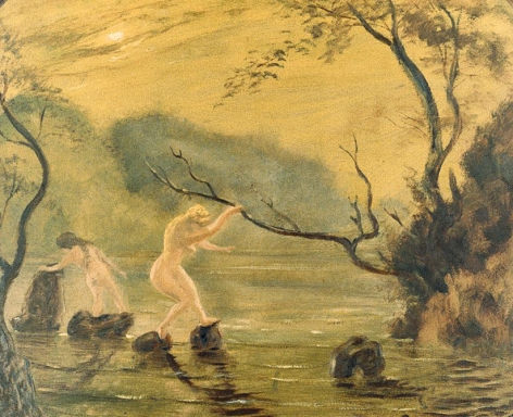 """Sold painting by Louis Eilshemius entitled """"Nudes by a Stream""""."""