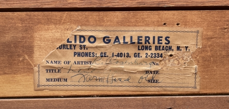 """Second label verso from Lido Galleries on """"Subjective Farm Landscape"""" by Ralph Rosenborg."""