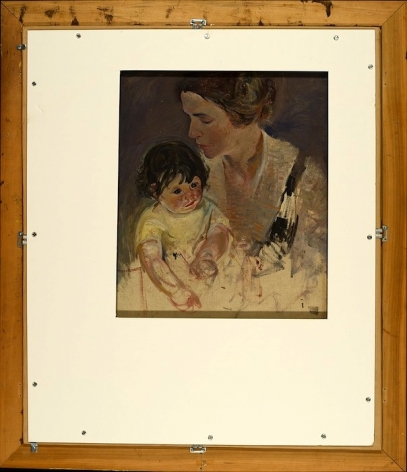 """Verso of """"Mother and Child oil painting by John Costigan."""