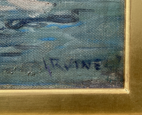 """Signature on """"The Harbor at Camden, Maine"""" by Wilson Henry Irvine."""