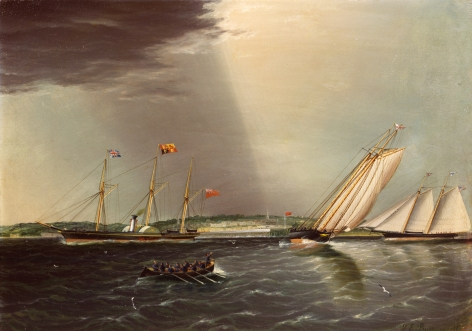 "James E. Buttersworth painting ""America vs Aurora"" from sold archive."