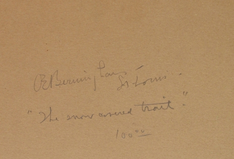 """Verso inscription of """"The Snow Covered Trail"""" by Oscar Berninghaus."""