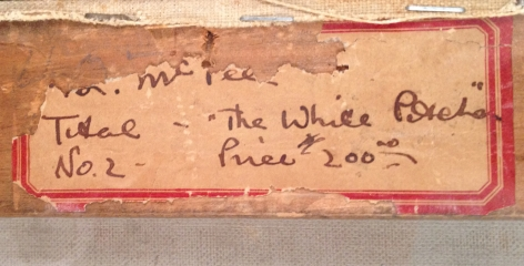 """Label verso fragment of """"The White Pitcher"""" by Henry Lee McFee."""