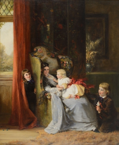 """Oil painting entitled """"Hide and Seek"""" by George Bernard O'Neill."""
