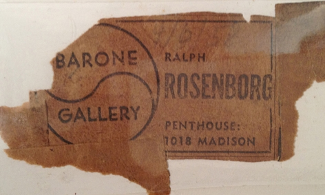 """Label verso fragment from Barone Gallery on """"Subjective Farm Landscape"""" by Ralph Rosenborg."""