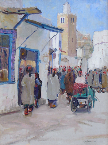 """""""A Busy Corner Tunis"""" by Jane Peterson."""