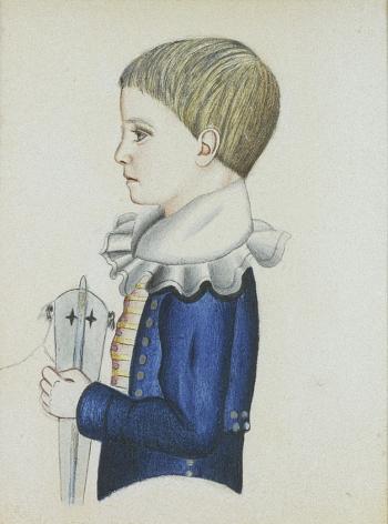 """Sold watercolor portrait of """"John"""" by Edwin Plummer."""