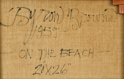 """Inscription verso of """"On the Beach"""" by Byron Browne."""