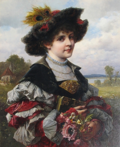 Ferdinand Wagner II oil painting of a girl in an elegant dress.