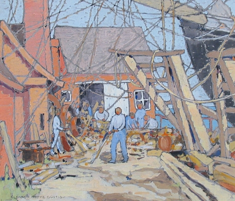"""Gouache painting by Eleanor Parke Custis entitled """"At the Dry Dock Gloucester""""."""