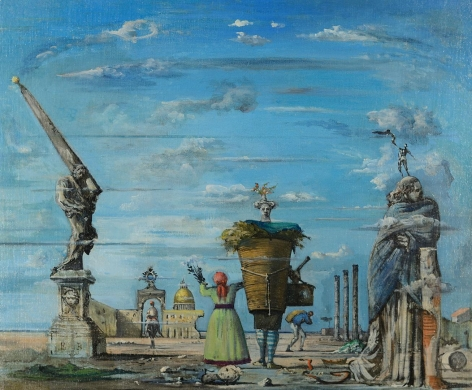 Eugene Berman oil painting of an imaginary view of Rome.