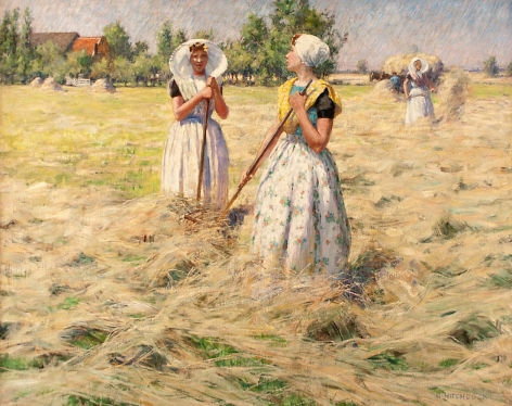 """Oil painting entitled """"Haymakers, Zeeland"""" by George Hitchcock."""