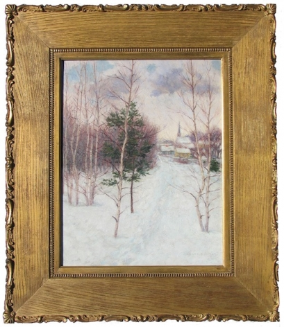 Frame view of Village in Winter painting by John Leslie Breck.
