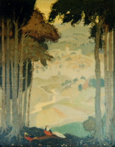 """Jessie Arms Botke oil painting """"Imaginary Landscape""""."""