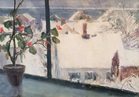 "John Whorf watercolor titled ""Winter from my Studio - Provincetown""."