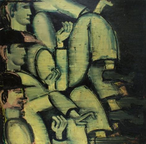"Oil painting entitled ""Men Walking #1"" by Lester Johnson."