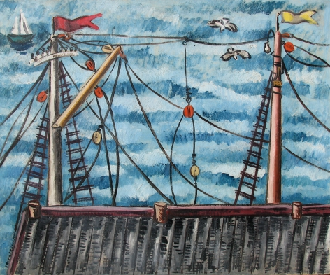 "Irene Rice Pereira oil painting titled ""Masts."""