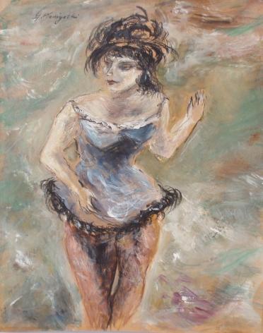 """Gouache painting by Yasuo Kuniyoshi entitled """"Circus Girl""""."""
