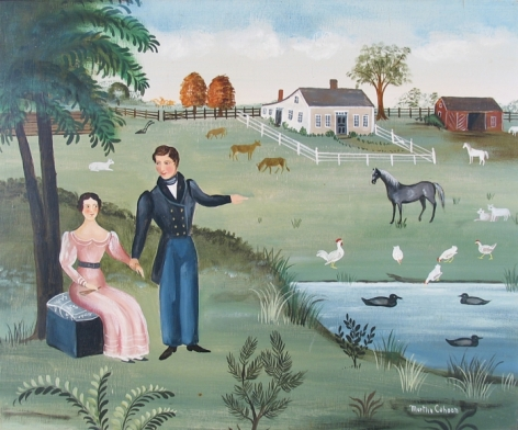 Oil painting of couple by farmyard by Martha Cahoon.