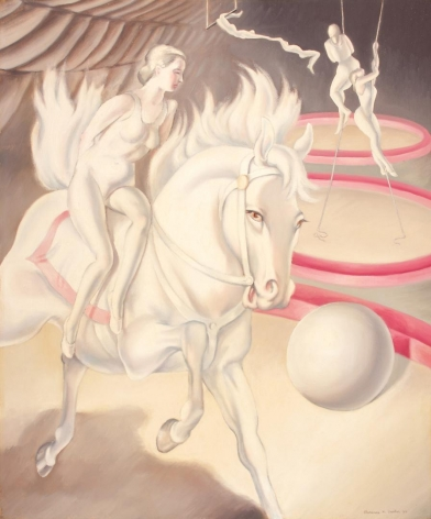 """Clarence Holbrook Carter 1930 painting titled """"Circus Scene."""""""