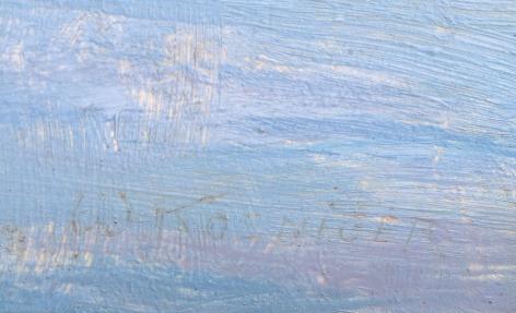 "Signature on ""Winter Hillside"" by Walter Koeniger."
