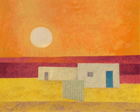 """Sold oil painting entitled """"Three Houses"""" by Emil Bisttram."""