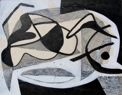Vaclav Vytlacil untitled abstract black and white painting 018.