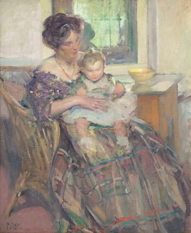 "Oil painting by Richard E. Miller entitled ""Mother and Child""."