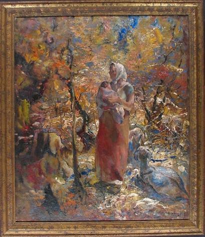 """Frame on """"Mother and Child oil painting by John Costigan."""