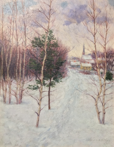Painting of a village in winter by artist John Leslie Breck.