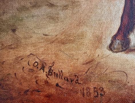 Signature on Horse Trade Scene by Otis Bullard.
