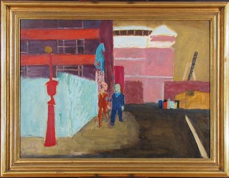Frame view of ASPCA: Street Near Bellevue, 1939 Oil on canvas 25h x 34