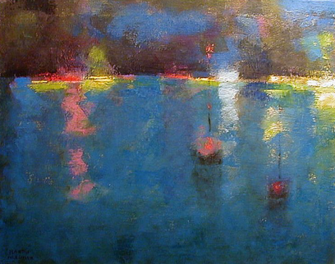 """Sold oil painting by Martin Friedman entitled """"Harbor Nocturne""""."""