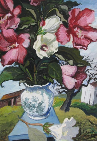 """Gouache painting by Gregorio Prestopino entitled """"Peonies in Rural Landscape""""."""
