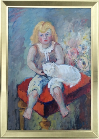 """Frame on """"Girl with Cat"""" painting by Hans Burkhardt."""