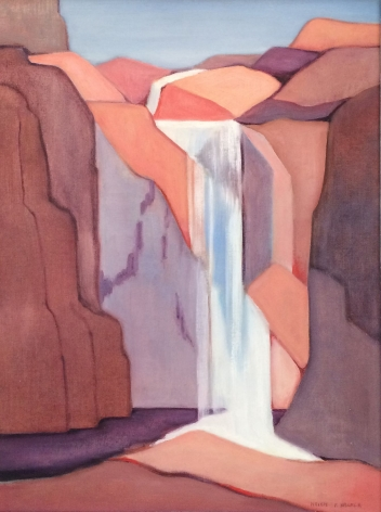 Oil painting of waterfall by Helen F. Kramer.