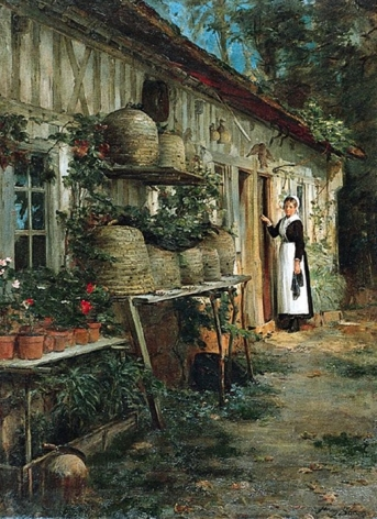 """Henry Bacon's 1881 oil painting entitled """"Beekeeper's Daughter""""."""