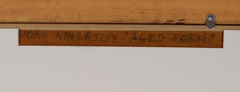 """Verso inscription on """"Aged Form"""" by John Atherton."""