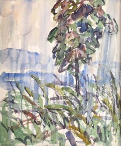 """Allen Tucker watercolor called """"The Rainstorm""""."""