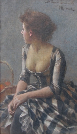 "Oil painting by Frederik Kaemmerer entitled ""Portrait of a Woman""."